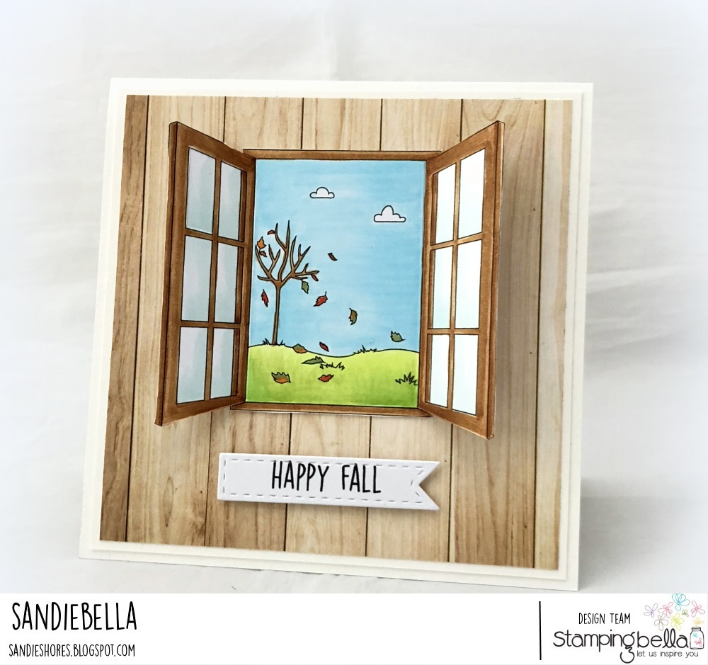www.stampingbella.com: RUBBER STAMP: FALL WINDOW, card by SANDIE DUNNE