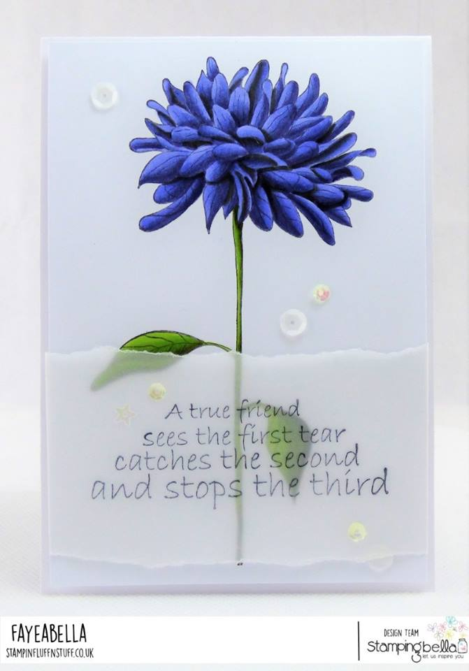 www.stampingbella.com: rubber stamp  used: FLOWER FOR A TRUE FRIEND, card by FAYE WYNN JONES