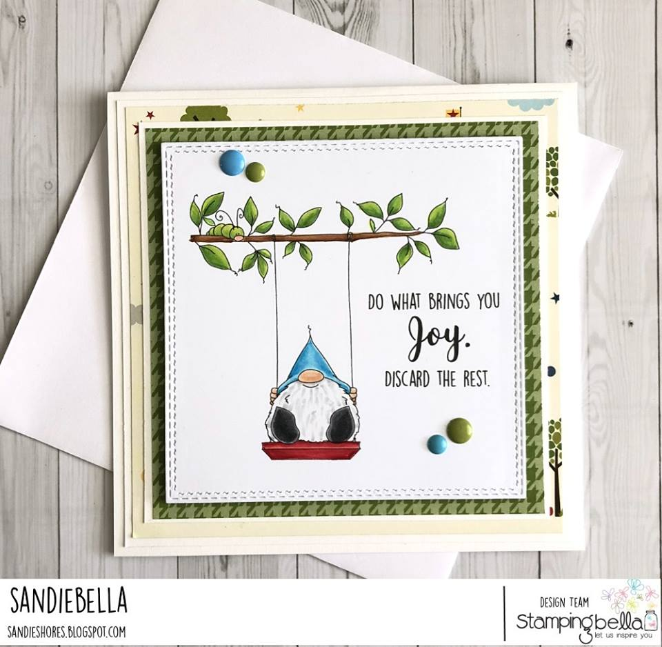www.stampingbella.com: rubber stamp used: GNOME ON A SWING, card by SANDIE DUNNE