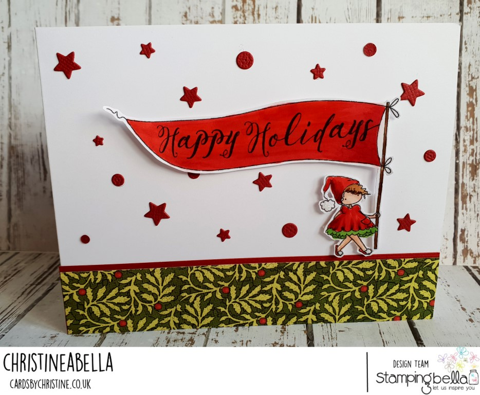 www.stampingbella.com: rubber stamp used: HAPPY HOLIDAYS TEENY TINY TOWNIE, card by CHRISTINE LEVISON