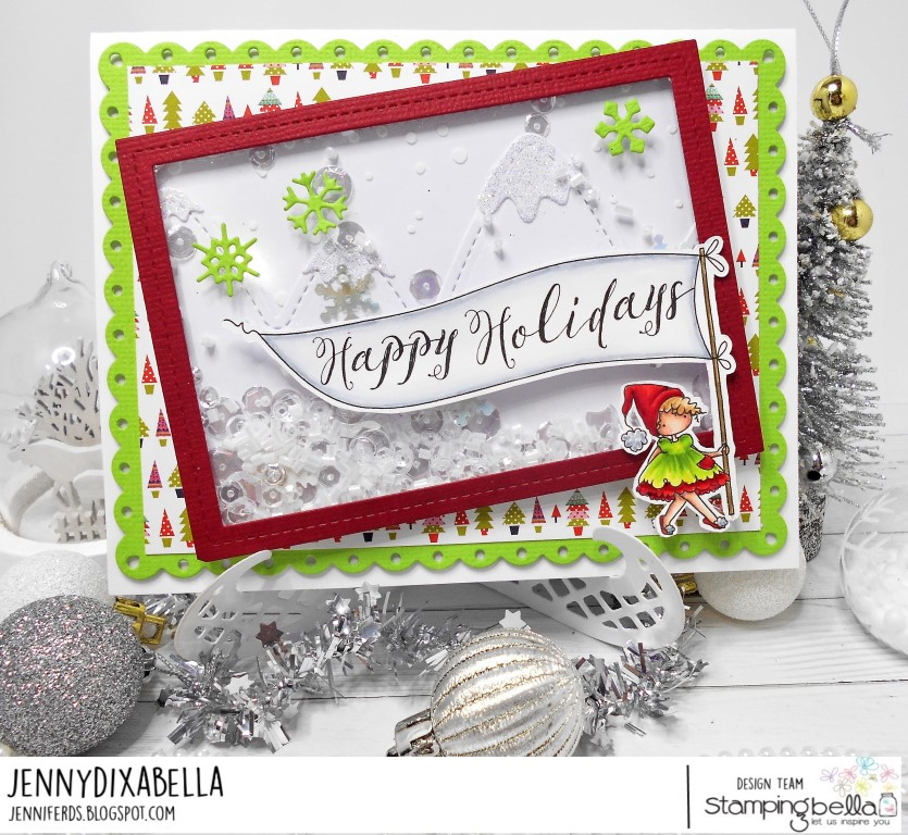 www.stampingbella.com: rubber stamp used: HAPPY HOLIDAYS TEENY TINY TOWNIE, card by JENNY DIX