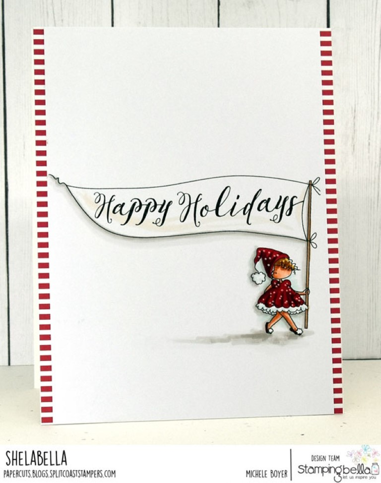 www.stampingbella.com: rubber stamp used: HAPPY HOLIDAYS TEENY TINY TOWNIE, card by MICHELE BOYER