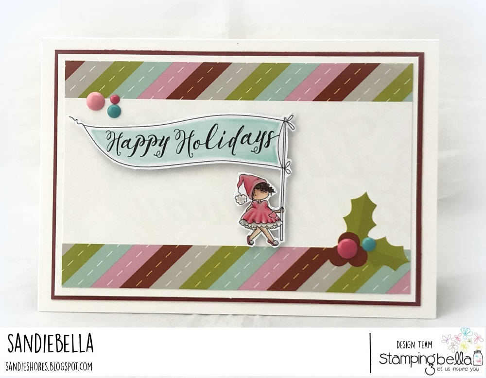 www.stampingbella.com: rubber stamp used: HAPPY HOLIDAYS TEENY TINY TOWNIE, card by Sandie Dunne