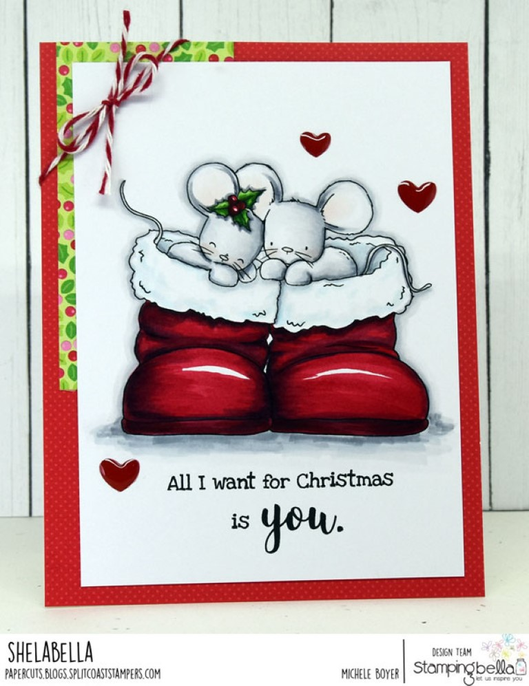 www.stampingbella.com: rubber stamp used: MICE IN BOOTS. Card by Michele Boyer
