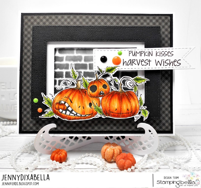 www.stampingbella.com: RUBBER STAMP: ODDBALL NAUGHTY PUMPKINS. CARD BY JENNY DIX