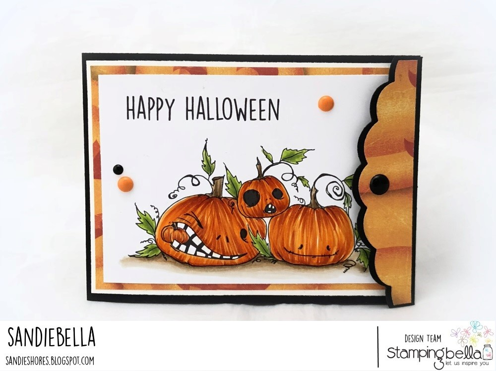 www.stampingbella.com: RUBBER STAMP: ODDBALL NAUGHTY PUMPKINS. CARD BY SANDIE DUNNE