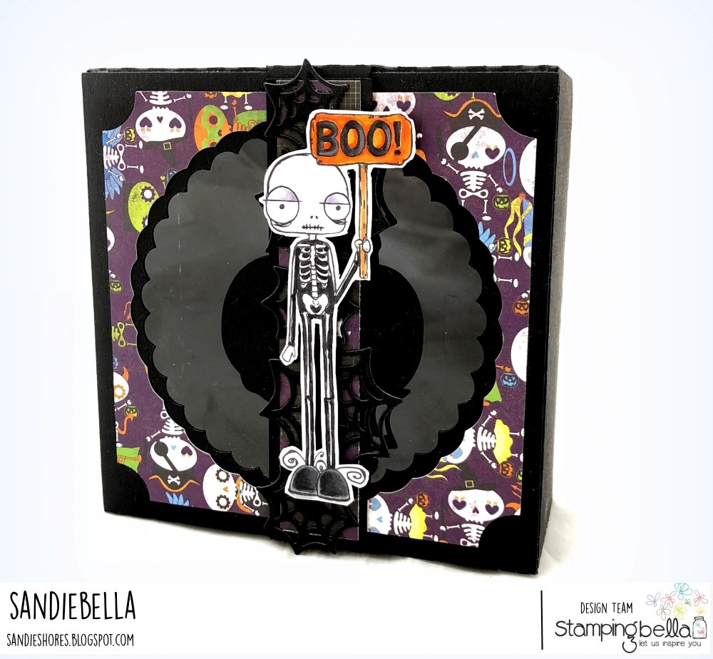 www.stampingbella.com: rubber stamps used:ODDBALL SKELETON. Card by SANDIE DUNNE