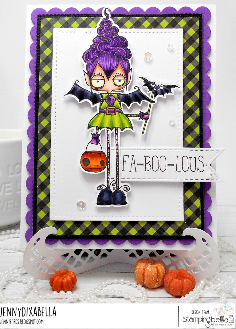 www.stampingbella.com: rubber stamps used:ODDBALL VAMPIRE GIRL. Card by JENNY DIX