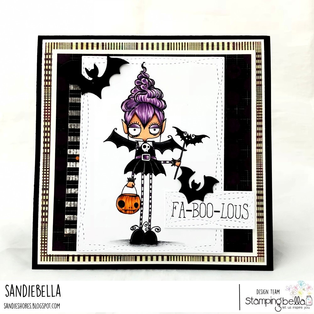 www.stampingbella.com: rubber stamps used:ODDBALL VAMPIRE GIRL. Card by Sandie Dunne