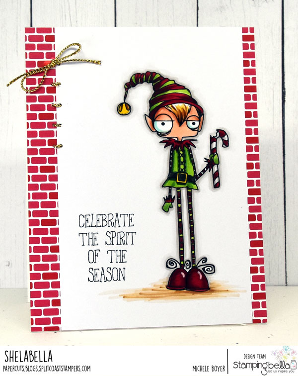 www.stampingbella.com: RUBBER STAMP USED: ODDBALL BOY ELF card by Michele Boyer