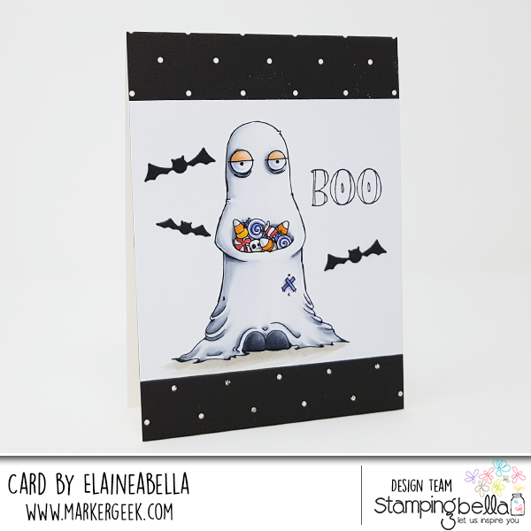 www.stampingbella.com: rubber stamps used:ODDBALL GHOST. Card by Elaine Hughes
