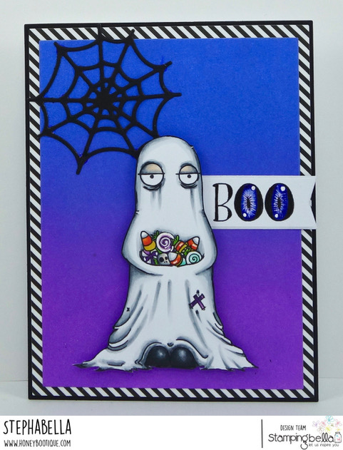 www.stampingbella.com: rubber stamps used:ODDBALL GHOST. Card by Stephanie Hill