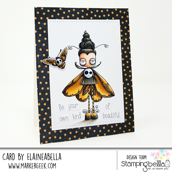 www.stampingbella.com: rubber stamps used: ODDBALL MOTH. Card by Elaine Hughes