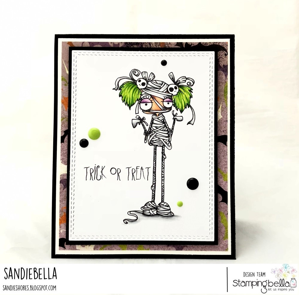 www.stampingbella.com: Rubber stamp used: ODDBALL MUMMY, card by SANDIE DUNNE