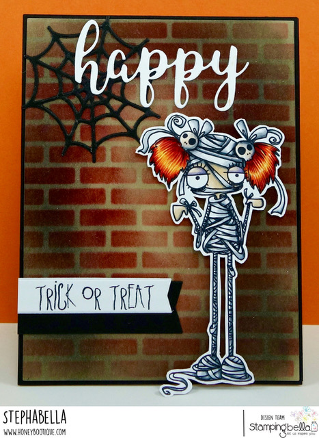 www.stampingbella.com: Rubber stamp used: ODDBALL MUMMY, card by Stephanie Hill