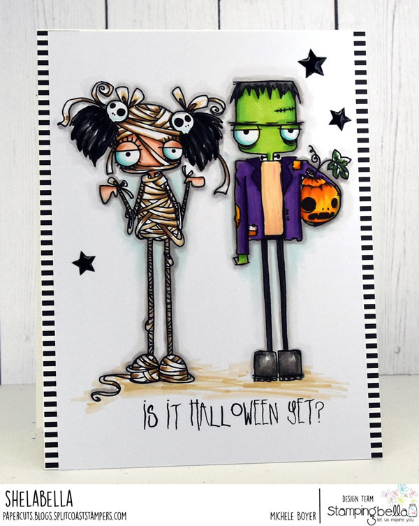 www.stampingbella.com: rubber stamps used: ODDBALL MUMMY and ODDBALL FRANKSENSTEIN. Card by MICHELE BOYER