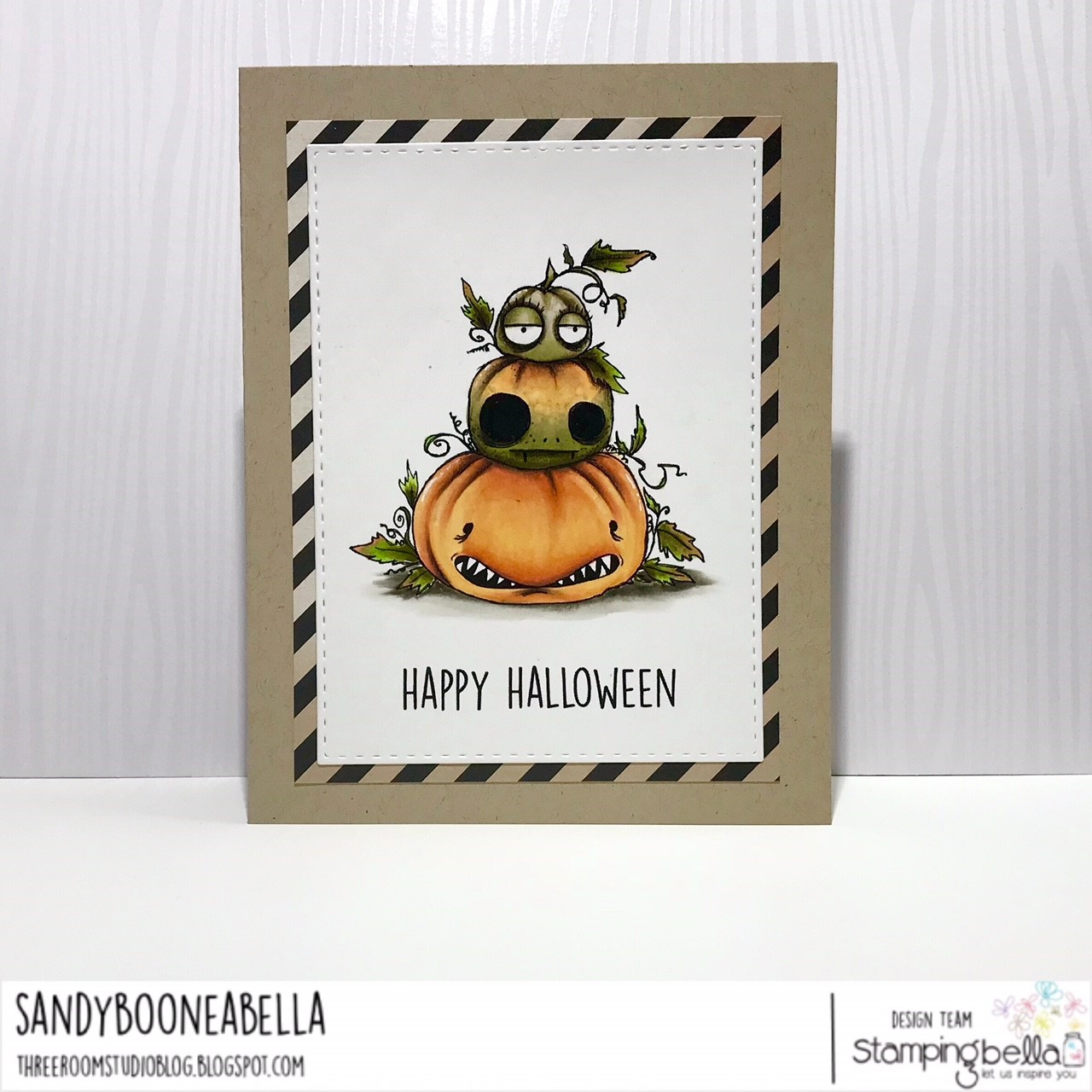 www.stampingbella.com: RUBBER STAMP: ODDBALL PUMPKIN PILE. CARD BY Sandy Boone