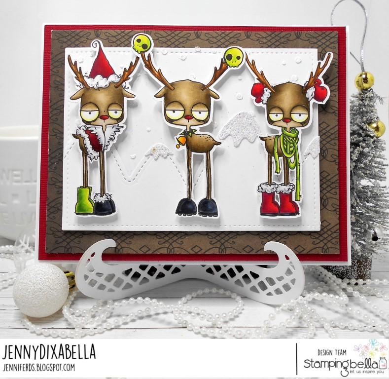 www.stampingbella.com: RUBBER STAMP USED: ODDBALL REINDEER SET card by JENNY DIX