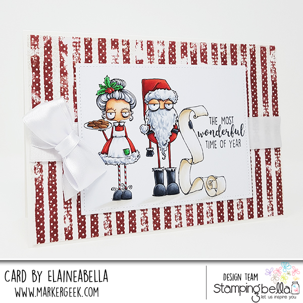 www.stampingbella.com: RUBBER STAMP USED: ODDBALL SANTA AND THE MISSUS card by Sandie Dunne