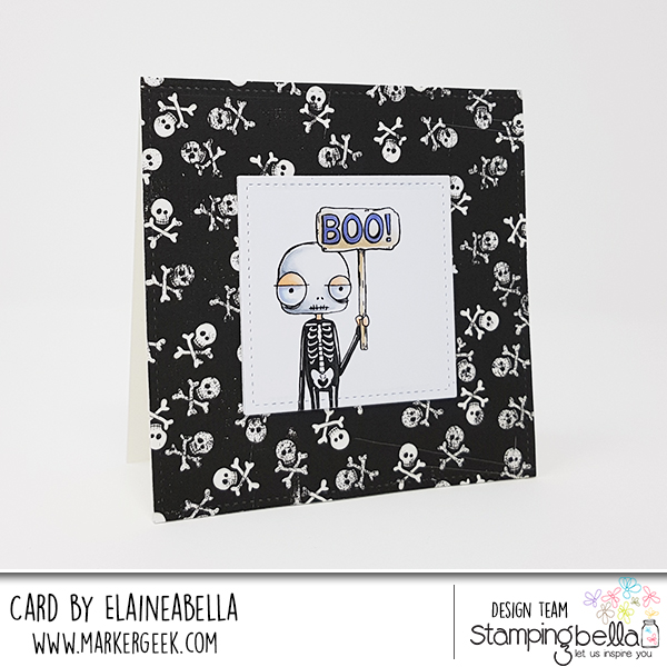 www.stampingbella.com: rubber stamps used:ODDBALL SKELETON. Card by Elaine Hughes