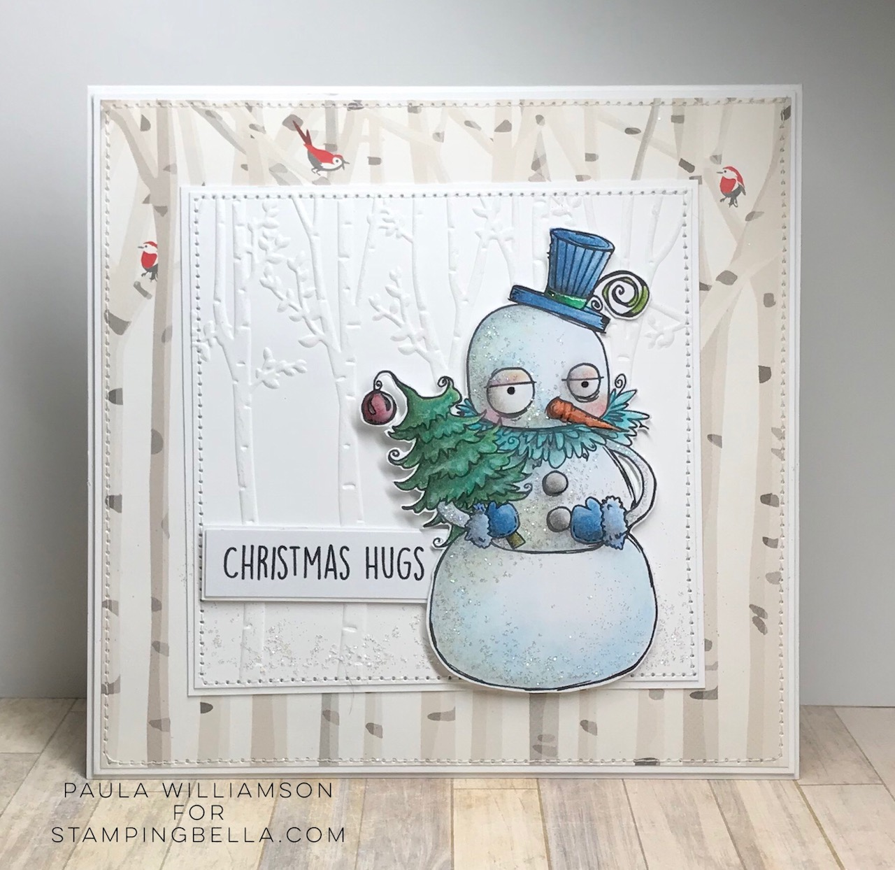 www.stampingbella.com: RUBBER STAMP USED: ODDBALL SNOWMAN card by Paula Williamson
