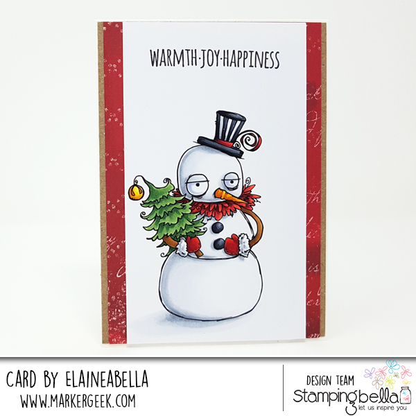 www.stampingbella.com: RUBBER STAMP USED: ODDBALL SNOWMAN card by Elaine Hughes
