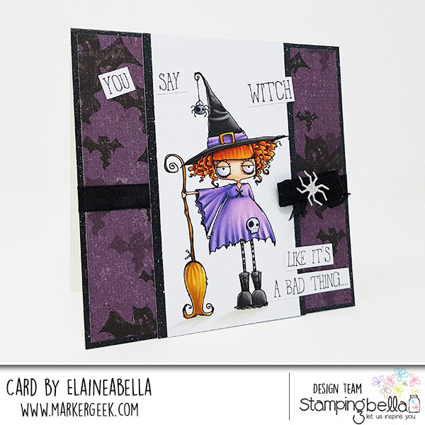 www.stampingbella.com: rubber stamps used: ODDBALL WITCH. Card by Elaine Hughes