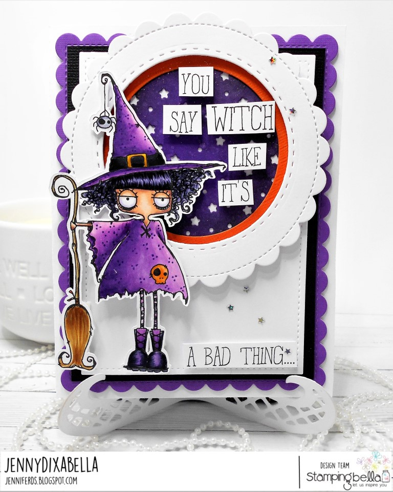 www.stampingbella.com: rubber stamps used: ODDBALL WITCH. Card by JENNY DIX