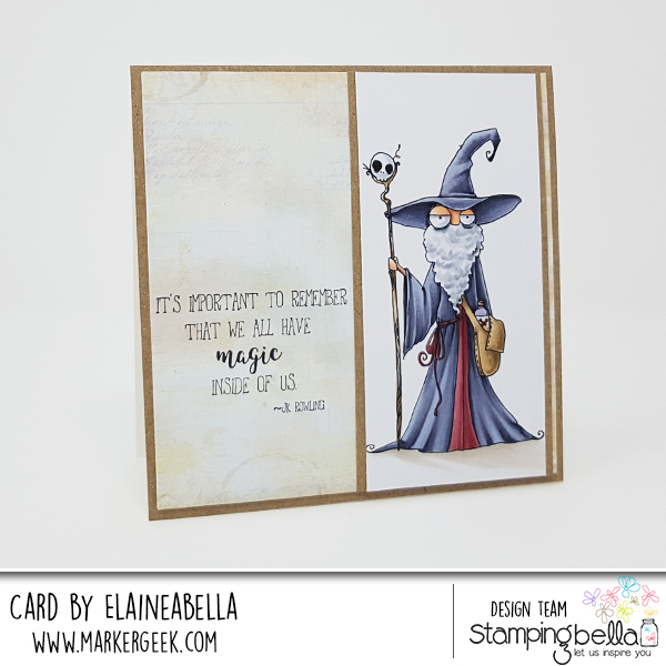 www.stampingbella.com: RUBBER STAMP: ODDBALL WIZARD. CARD BY Elaine Hughes
