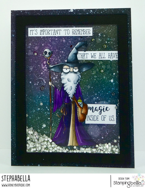 www.stampingbella.com: RUBBER STAMP: ODDBALL WIZARD. CARD BY STEPHANIE HILL