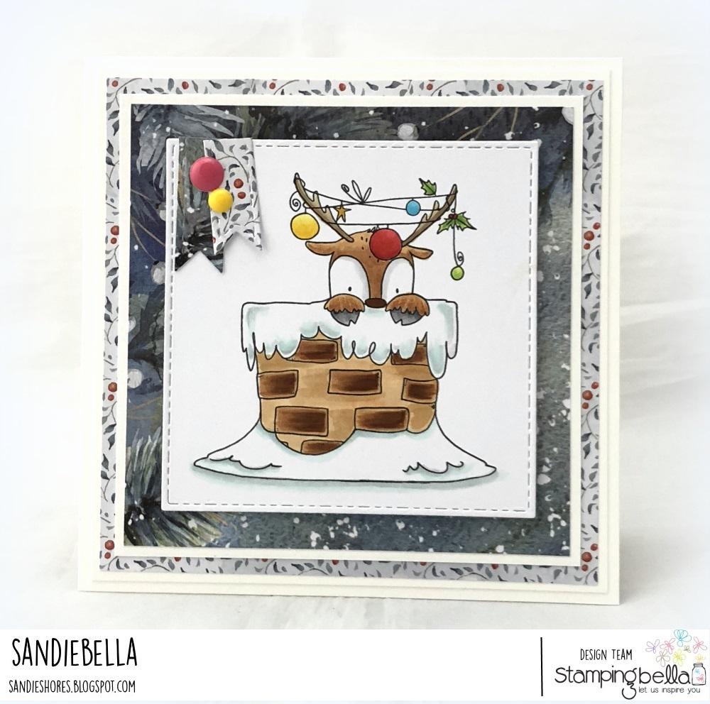 www.stampingbella.com: rubber stamp used: PEEKABOO REINDEER. Card by Sandie Dunne