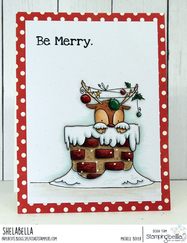 www.stampingbella.com: rubber stamp used: PEEKABOO REINDEER. Card by MICHELE BOYER
