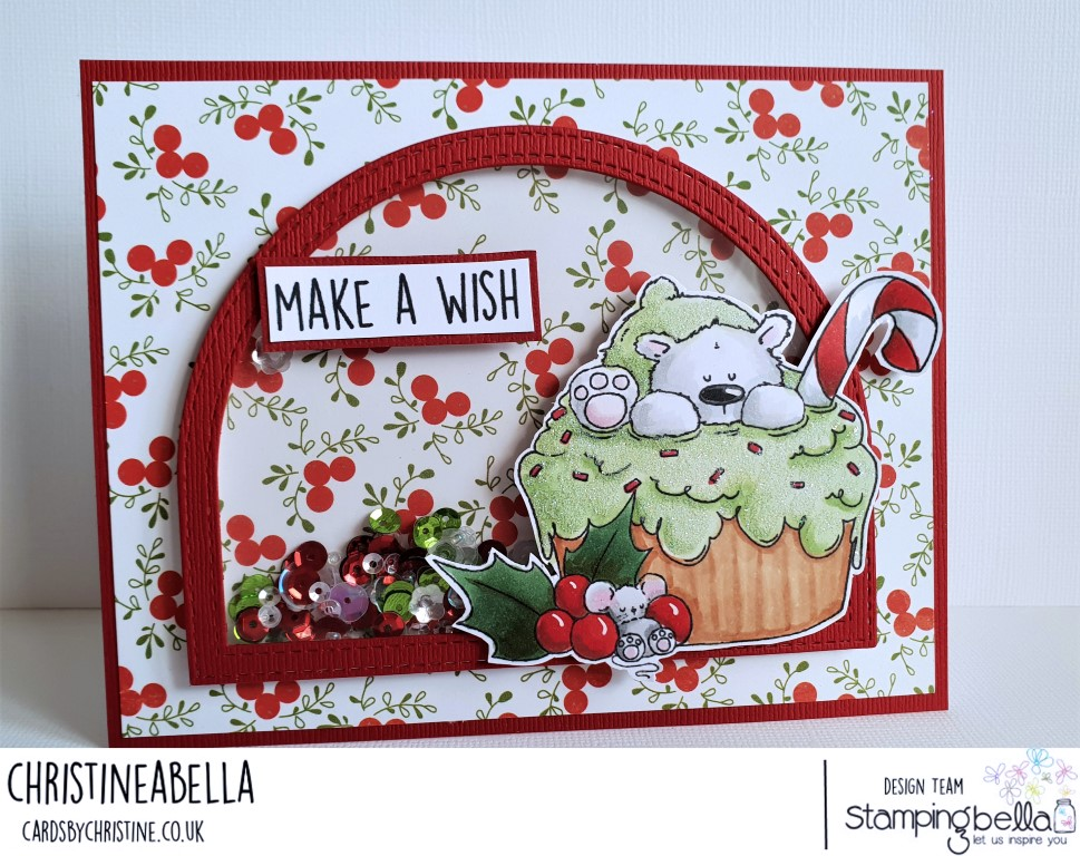 www.stampingbella.com: rubber stamp used: polar bear on a cupcake. Card by Christine Levison