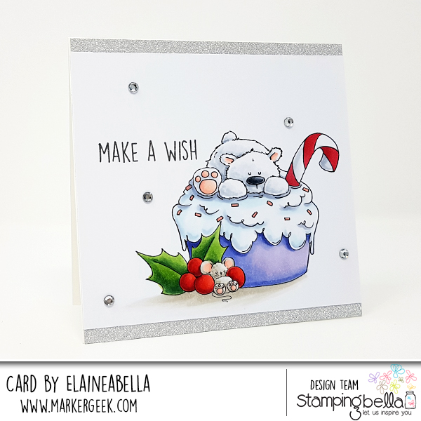 www.stampingbella.com: rubber stamp used: The POLAR BEAR ON A CUPCAKE. Card by ELAINE HUGHES