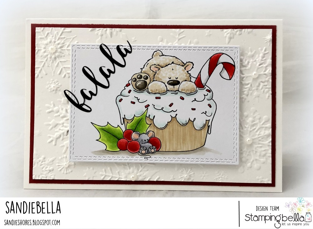 www.stampingbella.com: rubber stamp used: polar bear on a cupcake. Card by Sandie Dunne
