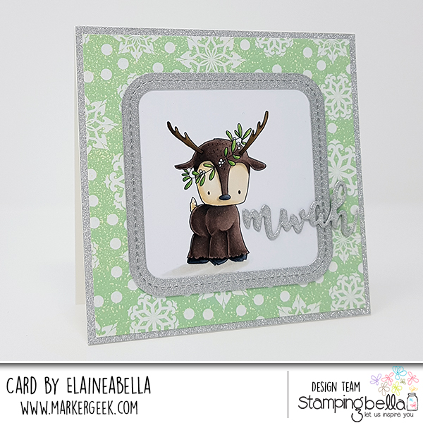 www.stampingbella.com: rubber stamp used: REINDEER FAMILY. Card by Elaine Hughes