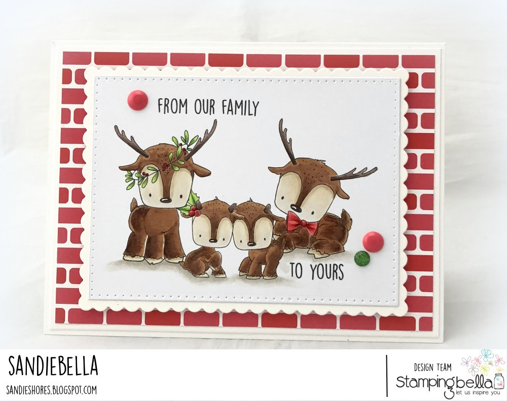 www.stampingbella.com: rubber stamp used: REINDEER FAMILY. Card by Sandie Dunne