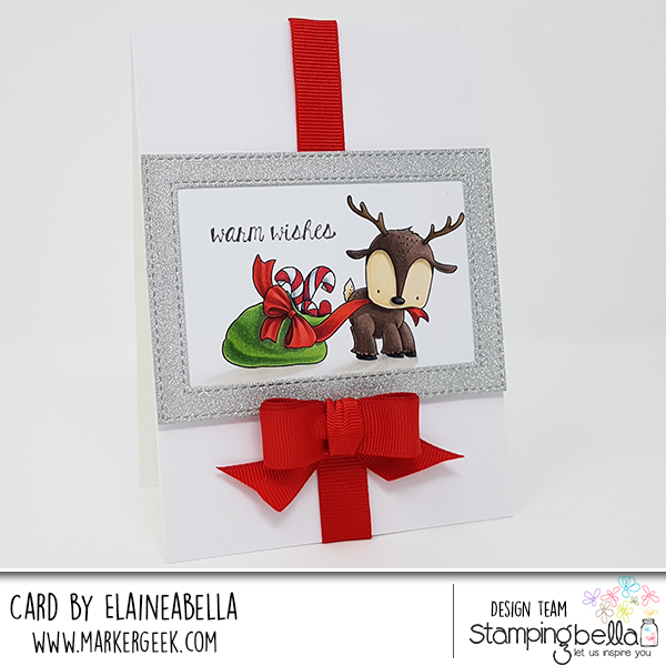 www.stampingbella.com: rubber stamp used REINDEER WITH A GIFT. Card by Elaine Hughes