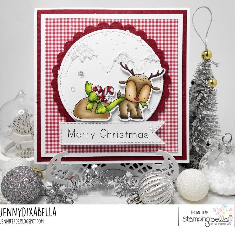 www.stampingbella.com: rubber stamp used: REINDEER WITH A GIFT. Card by JENNY DIX