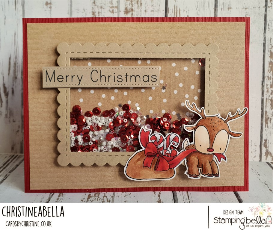 www.stampingbella.com: rubber stamp used: REINDEER WITH A GIFT Card by Christine LEVISON