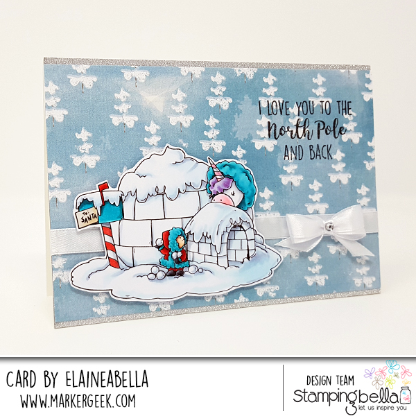 www.stampingbella.com: rubber stamp used: ROSIE AND BERNIE IN the NORTH POLE. Card by Elaine hughes