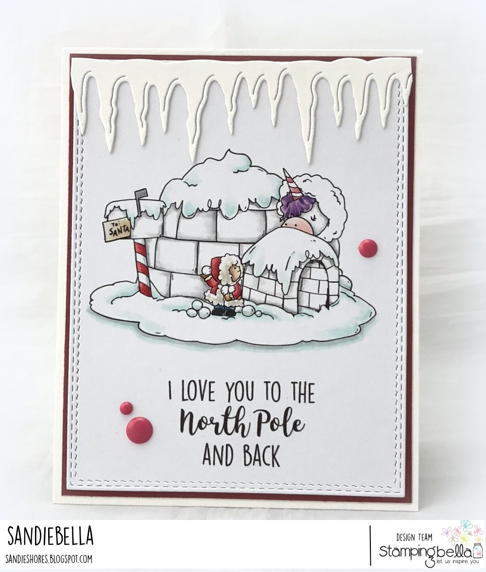 www.stampingbella.com: rubber stamp used: ROSIE AND BERNIE IN the NORTH POLE. Card by Sandie Dunne