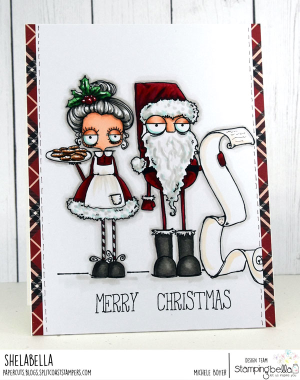 www.stampingbella.com: RUBBER STAMP USED: ODDBALL SANTA AND THE MISSUS card by MICHELE BOYER