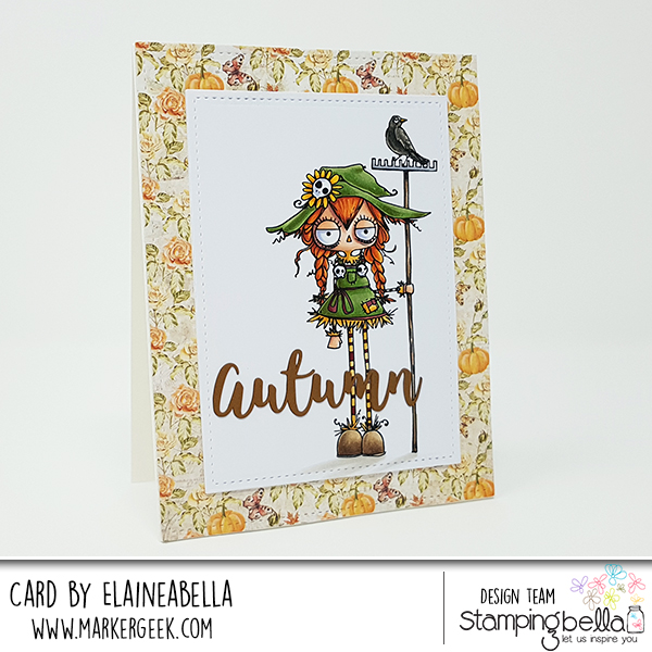 www.stampingbella.com: RUBBER STAMP: ODDBALL SCARECROW CARD BY Elaine Hughes