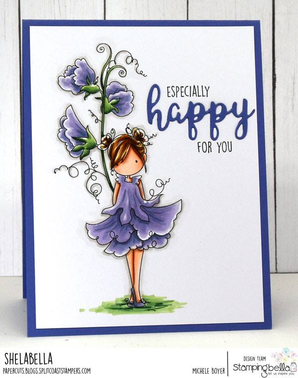 www.stampingbella.com: rubber stamp  used: TINY TOWNIE GARDEN GIRL SWEETPEA, card by Michele Boyer