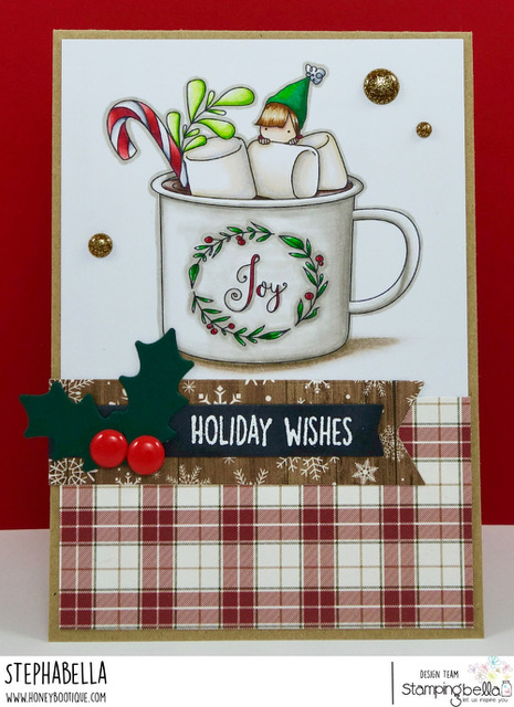 www.stampingbella.com: RUBBER STAMP USED: TEENY TINY TOWNIE WITH A HOT CHOCOLATE, CARD BY STEPHANIE HILL
