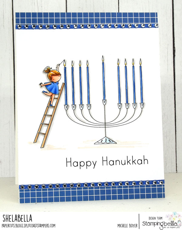 www.stampingbella.com: rubber stamp used TEENY TINY TOWNIE CHANUKAH card by MICHELE BOYER