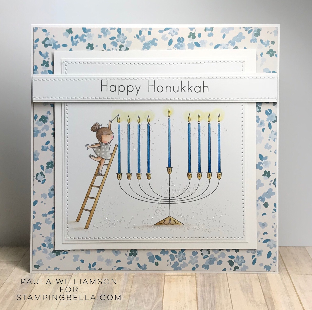 www.stampingbella.com: rubber stamp used TEENY TINY TOWNIE CHANUKAH card by PAULA WILLIAMSON