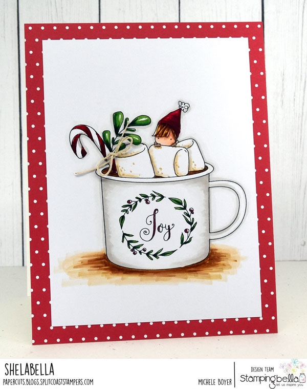 www.stampingbella.com: rubber stamp used: TEENY TINY TOWNIE with a HOT CHOCOLATE, Card by MICHELE BOYER