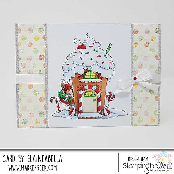 www.stampingbella.com: rubber stamp used: TEENY TINY TOWNIE GINGERBREAD HOUSE, card by ELAINE HUGHES